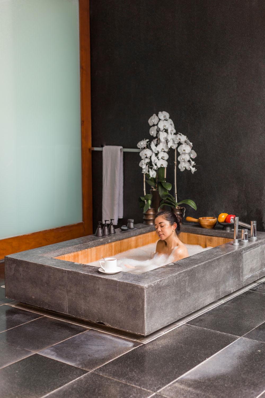 Marcy Yu taking a bath in the Lalu Hotel in sun moon lake Taiwan
