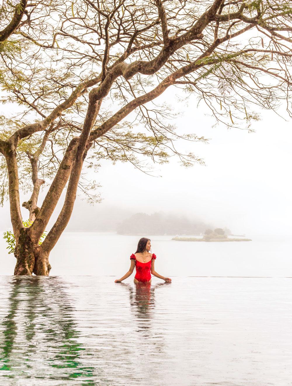 Marcy Yu in Infinity Pool at The Lalu Hotel in Sun Moon Lake Taiwan