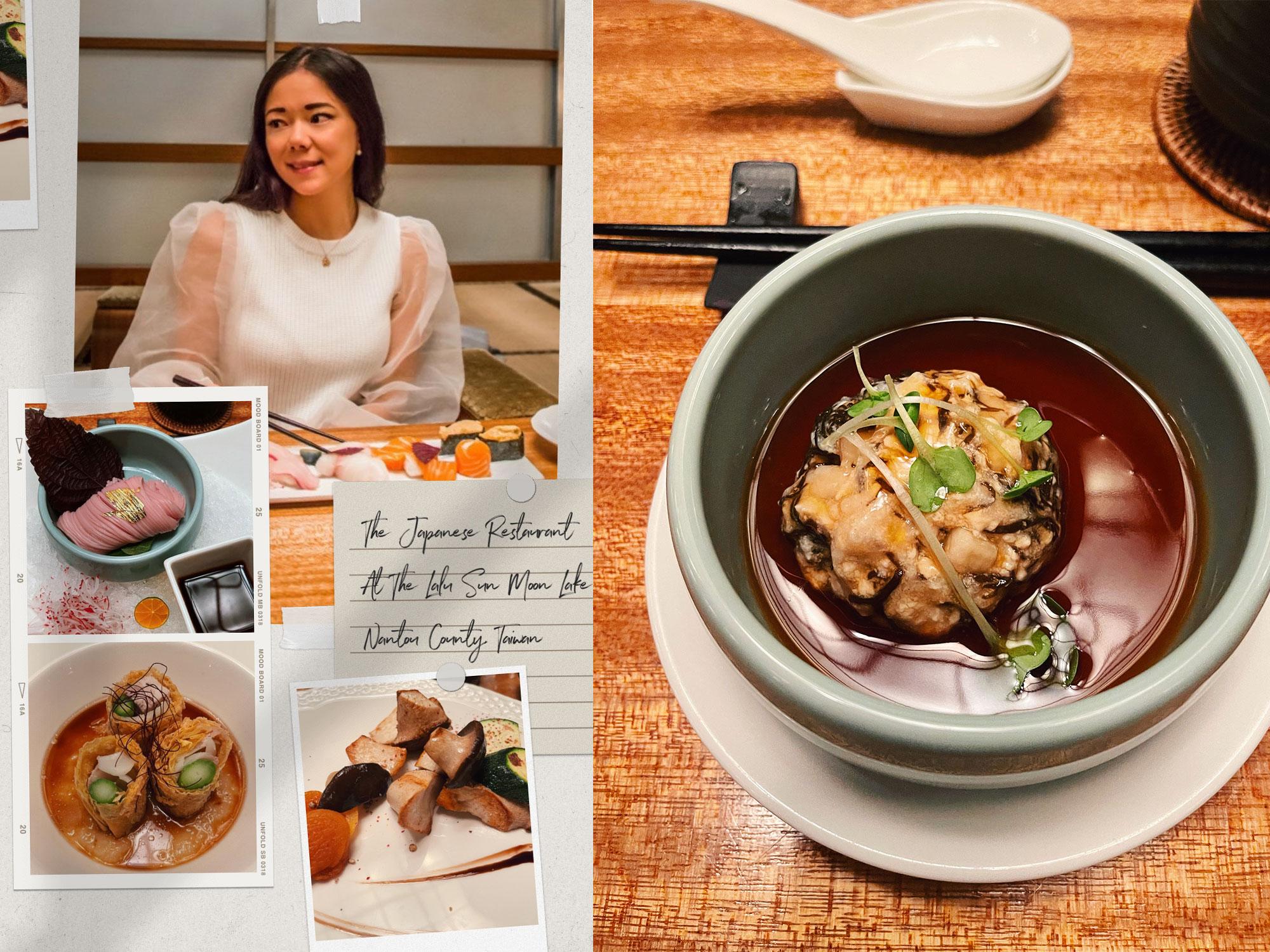 Japanese food at the Lalu sun moon lake hotel Taiwan