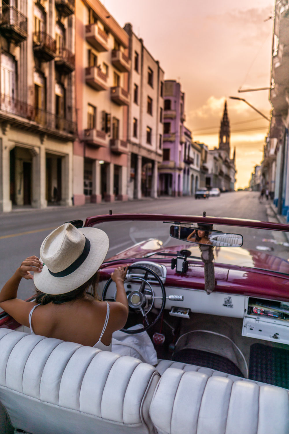 Marcy Yu Havana Cuba Travel Tips Sunset Vintage Car