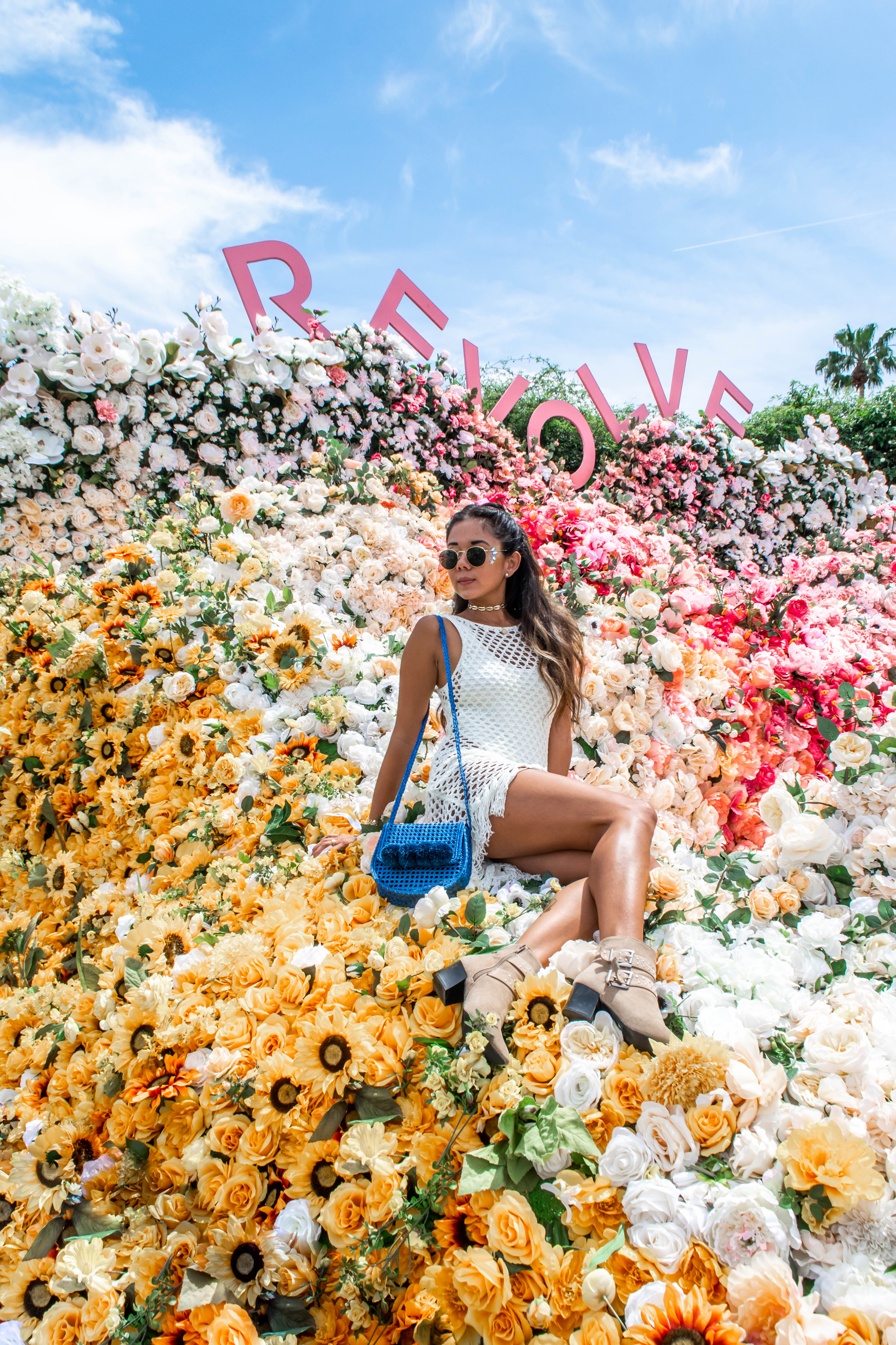 Marcy Yu Revolve Festival Party outfits Flower Instagramable spot